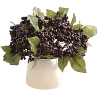 Wholesale artificial christmas red flower resale online - Artificial Flower Single Bean Branch Mini Red Berry Simulation Flowers Wedding Ceremony Decor Home Furnishing dy gg