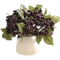 ingrosso bacche rosse artificiali-Fiore artificiale singolo ramo di fagioli Mini Red Berry Simulazione Fiori Cerimonia di nozze Arredamento Arredamento Per La Casa 2 6dy gg