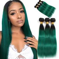 Wholesale weave bundles dyed ombre green resale online - Ombre Brazilian Hair Bundles Deal Pre Colored T1B Turquoise Brazilian Straight Human Hair Bundles Green Ombre Human Hair