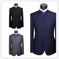 Wholesale Tunics For Men - Custom Made Men Chinese Tunic Suit jacket New Arrival fashion Formal High Quality Blazer Suits For Men suit jacket