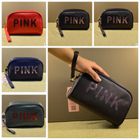 Wholesale sequins cosmetic bag - Pink sequins Makeup Bag Classic Love Pink Cosmetic Bags Handbag Portable Storage Bag 19*7*12.5cm Travel Storage Cosmetic Bag KKA4173