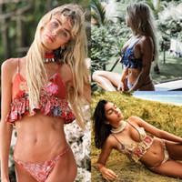 Wholesale bikini cheap - New Red Yellow Blue Floral Printed Women Bikinis 2018 Spaghetti Straps Beachwear Summer S M L XL Cheap Swimwear SO0583
