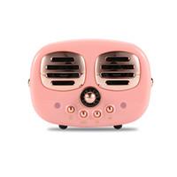 müzik kutusu usb mp3 toptan satış-Sevimli Bluetooth Hoparlörler Taşınabilir Kablosuz Subwoofer Retro Radyo Hoparlör Handsfree Stereo TF AUX Müzik Kutusu iPhone 9 için 2019 Xmas Hediye