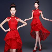 uzun cheongsam gece elbisesi toptan satış-Kırmızı Dantel Çin Akşam Elbise Boncuk Aplike Kısa Ön Uzun Geri Gelin Düğün Qipao Backless Cheongsam Seksi Özel