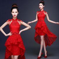 ingrosso cheongsam indietro-Vestito da sera cinese del merletto rosso che borda l'abitudine sexy Backless Cheongsam Backless di cerimonia nuziale di Qipao Backless anteriore anteriore