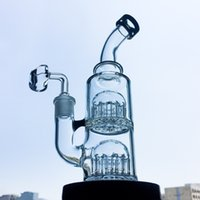 Wholesale arms small - 8 Inch Toro Glass Bubbler Water Pipes Bongs Double Layer 12-Arms Tree Perc Percolator Bong Mini Dab Rigs Waterpipe Small Oil Rig YQ01
