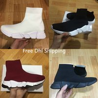 Wholesale Mens Shoes - DHL Shipping With box Mens and Womens Casual Shoes Zoom Slip-on Speed Trainer Low Mercurial XI Black High Fashion help Socks shoes Sneakers