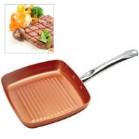 Wholesale aluminum oven - Wholesale Aluminum Non -Stick Fryer Pan Steak Breakfast Frying Eggs Cooking Helper Double Side Grill Fry Pan Oven Dishwasher Safe