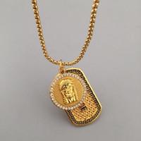 Wholesale quartz red necklace - Fashion Famous Brand Design Pendant Necklaces For Men Top Quality Trendy Hip Hop Chains Luxury Hiphop Jewelry Gold Plated Wholesale