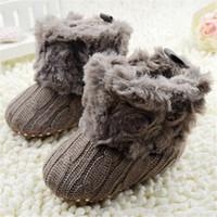 ingrosso ragazza del ragazzo dei jeans dell'uncinetto del bambino-Baby Infants Crochet Knit Fleece Boots Toddler Girl Boy Stivaletti da neve