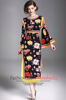 Wholesale lady s long floral dress - 2018 fashion new Spring high quanlity rose flower printing dress of women, loose sleeve dresses of lady