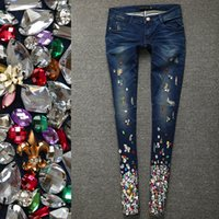 Wholesale Beading Jeans - Women Denim Pencil Pants Female Trousers Diamond Beading Jeans