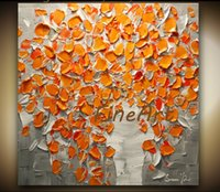 Wholesale decorative art vase online - Contemporary Orange Flowers Bouquet in Vase Textured Oil Painting hand painted on canvas decorative wall pictures unique gift Kungfu Art