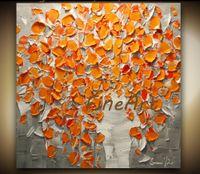 ingrosso vasi arancioni-Contemporary Orange Flowers Bouquet in Vaso con texture pittura ad olio dipinta a mano su tela quadri decorativi da parete regalo unico Kungfu Art