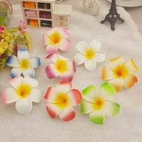 frangipani saç tokaları toptan satış-Kadınlar Saçlara Plumeria Hawaii Köpük Frangipani Çiçek Firkete Yaratıcı Çoklu Renkler Şapkalar Sıcak Satış 0 45nm BB Klip
