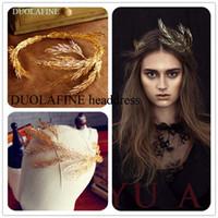 yeni gelin tacı toptan satış-Yeni Barok Taç Altın ve Gümüş Yapraklar Headdress Düğün Saç Süsler Kadınlar Için Prenses Headdress Gelin H-073