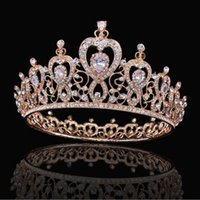 Wholesale quinceanera tiaras crowns - 2018 Pageant Quinceanera Wedding Crowns For Women Bling Rhinestone Beading Hair Jewelry Bridal Headpieces Tiaras Party Gowns