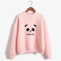 Wholesale cute panda hoodies resale online - Cute Cartoon Panda Printed Women s Hoodies M XXL Cotton Loose Sweatshirt Autumn Winter Casual Long Sleeve Pullovers