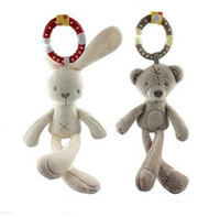 Wholesale baby doll toy crib - Cute Baby Crib Stroller Toy Rabbit Bunny Bear Soft Plush infant Doll Mobile Bed Pram kid Animal Hanging Ring Ring B