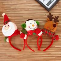apoyos de cabeza grande al por mayor-Dibujos animados Cool Big Head Santa Claus Muñeco de nieve Elk Headband Hebilla Atrezzo Adultos Kids Party Personalidad Tamaño libre Diadema Suministros