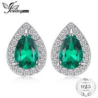 ingrosso orecchini di smeraldo-JewelPalace 0.85ct creato orecchini con smeraldo orecchini fascino 925 gioielli in argento sterling fine 2018 moda orecchini a goccia per le donne