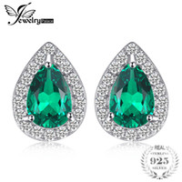 amuletos de pera al por mayor-JewelryPalace 0.85ct Creado Emerald Stud Earrings Charm 925 Sterling Silver Fine Jewelry 2018 Moda Pear Earrings For Women