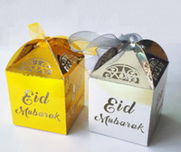 Wholesale sale crafts - hot sale gold silver happy Eid Mubarak paper gift box ramadan decorations Islamic party happy Eid Mubarak decorations