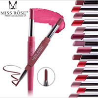 Wholesale nude lips resale online - Miss Rose Brand Lip Stick Lip liner Cosmetics Wateproof Double Ended Long Lasting Nude Red Matte Lipstick Pen