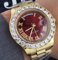 Wholesale Gents Bracelets - Mens luxury Superlative 44MM Day-Date 18k Glod Automatic Men's Watch AAA Sapphire Big Diamond Bezel Red Dial Steel Bracelet Gents Watches