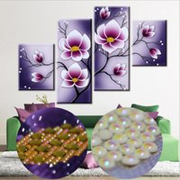 Wholesale Tulip Canvas Wall Art - Fashion Handmade 5D Special shaped Diamond Embroidery Painting Furple Tulip Floral Flower Diamond Resin Mosaic DIY Wall Painting Art Crafts