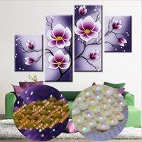 tintas de tulipa venda por atacado-Moda Handmade 5D Especial em forma de Diamante Bordado Pintura Furple Tulip Floral Flor Resina De Diamante Mosaico DIY Pintura de Parede Arte Artesanato
