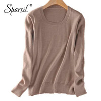 Wholesale women s cashmere sweaters wholesale - Sparsil Women O Neck Cashmere Sweater Long Sleeve Wool Pullovers Female Solid Color Knitted Sweaters Spring Autumn Tops