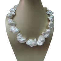 collier de perles baroques 925 achat en gros de-100% NATURE EAU DOUCE GRAND Baroque PEARL NECKLACE-bon quanlity-925 CROCHET SILIVER