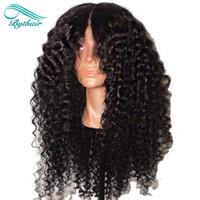 human hair wigs al por mayor-Bythair pelucas rizadas del pelo humano del frente del cordón Pelucas arrebujadas brasileñas del pelo del Remy del pelo de la raya completa con el color natural 8-26 del pelo del bebé