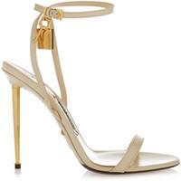 ingrosso sandali beige gladiatore-2017 Hot Fashion metallo tacco sandali serratura decorazione sexy tacchi alti pompe donne fibbia cinghia sandali gladiatore nastro nero