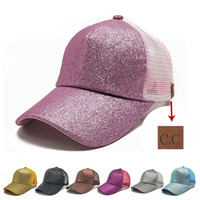 eac51aa3bb0 Wholesale fitted snapback hats wholesale - CC Glitter Ponytail Casquette  Colors Baseball Caps Dad Hat Luxury