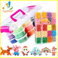 Wholesale Toy Music Sets - 24Color Water Aqua beads toys sticky perler beads pegboard set fuse beads jigsaw puzzle Water magic bead beadbond educational kids toys