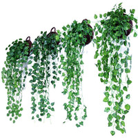 panier mural pour fleurs achat en gros de-Vert Artificielle Hanging Panier Plantation Feuilles Jardin Ornemental Fleur Simulation Rotin Faux Vigne Murale Décoration 4 75mh ff