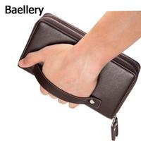 braune lange handtasche groihandel-Baellerry 2016 Clutch Bag Herren Brieftaschen Schwarz Braun Luxus Große Kapazität Geschenk für Männer Doppel-Reißverschluss Lange Brieftasche Handtasche