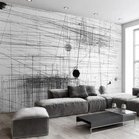 habitaciones forradas al por mayor-Mural Wallpaper Black White Stripes Lines Arte abstracto Pintura de pared Sala de estar Sofá TV Telón de fondo 3D Photo Wall Paper