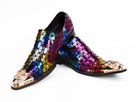 Wholesale mes casual shoes resale online - New mes fashion rainbow printing leather casual shoes mens loafers luxury mental pointed toe slip on career work shoes