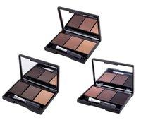 Wholesale dark brown eyes makeup online - Maxdona Colors Waterproof Eyebrow Powder Palette Dark Brown Black Eyebrow Enhancer Makeup Eye Shadow With Brush Mirror