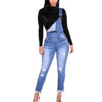 plus size denim jumpsuits UK - S-3XL Plus Size Clothing Set Women Denim Jumpsuit One Piece Trousers Jeans Sleeveless Jumpsuits Overalls Hollow Out Rompers 8075