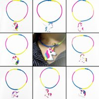 Wholesale Pretty Homes - New Colorful PVC Unicorn Shapes Pendant Necklace Silicone Chain Jewelry Party Home Pretty Gift Free Shipping