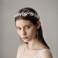 diademas de oro de dama de honor al por mayor-Boda de oro nupcial Dama de honor Diademas Bohemia Rhinestone accesorios para el cabello Celada Tiara accesorios de la boda Coronas de la boda CPA1430