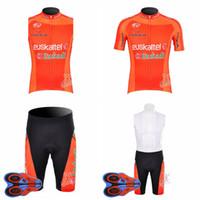 Wholesale team jersey vest cycling - EUSKALTEL team Cycling Short Sleeves jersey bib shorts Sleeveless Vest sets cycling Jerseys breathable quick drying 9D gel pad D1911