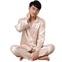 c36e91b873 Men Sleepwear Summer Casual Pajama Set Satin Male Nightwear Suit Long Sleeve  2 Piece Shirt+Pants Pajamas Suit Big Size 3XL