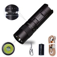 Wholesale real flashlights - Wuben Waterproof Led Flashlight Mini Usb Rechargeable Keychain Lamp 300 Lumens Real Tactical Torch Household Light Edc +Battery