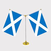 ingrosso bandiere scozia-Bandiera nazionale scozzese Bandiera da tavolo con standard in acciaio inossidabile Il tuo logo è benvenuto 14 * 21cm Y Style
