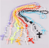 Wholesale Rosary Necklace Plastic - 2018 wholesale Free shipping! 10pcs Factory wholesale price Bright in dark white Hot Cross Rosary Plastic Necklace